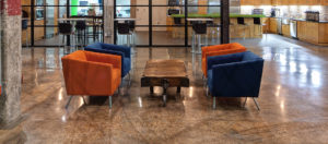 An office lobby with chairs